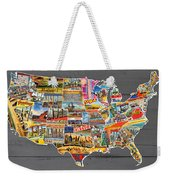 Postcards Of The United States Vintage Usa Lower 48 Map On Gray Wood Background Weekender Tote Bag