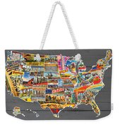 Postcards Of The United States Vintage Usa Map On Gray Wood Background Weekender Tote Bag