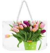 Pot Of Pink And Violet Tulips Weekender Tote Bag
