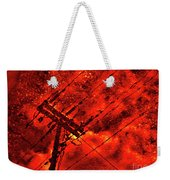 Power Line - Asphalt - Water Puddle Abstract Reflection 02 Weekender Tote Bag