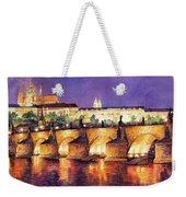 Prague Night Panorama Charles Bridge  Weekender Tote Bag