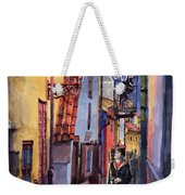 Prague Old Street Golden Line Weekender Tote Bag