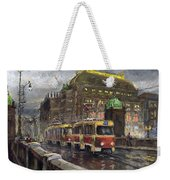 Prague Tram Legii Bridge National Theatre Weekender Tote Bag