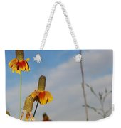 Prairie Cone Flowers Against Blue Sky Vertical Number Two Weekender Tote Bag