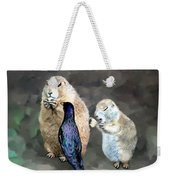 Prairie Dogs And A Bird Eating Weekender Tote Bag