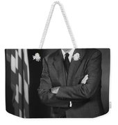 President Eisenhower And The U.s. Flag Weekender Tote Bag