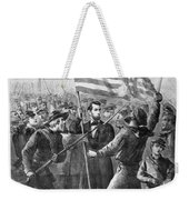 President Lincoln Holding The American Flag Weekender Tote Bag