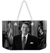 President Ronald Reagan In The Oval Office Weekender Tote Bag