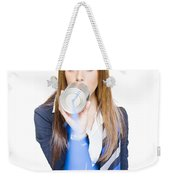 Pretty Business Woman Talking On Tin Can Phone Weekender Tote Bag
