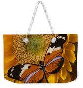 Pretty Butterfly On Sunflowers Weekender Tote Bag