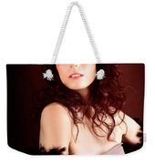 Pretty Glamour Fashion Girl On Red Backlight Weekender Tote Bag
