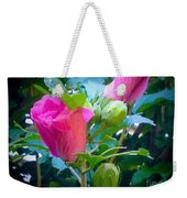Pretty In Pink Hibiscus Flowers And Buds Weekender Tote Bag
