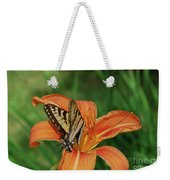 Pretty Orange Lily With A Butterfly On It's Petals Weekender Tote Bag