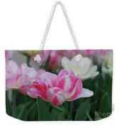 Pretty Pink And White Striped Ruffled Parrot Tulips Weekender Tote Bag