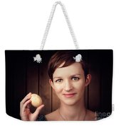 Pretty Young Brunette Woman Holding Hatching Egg Weekender Tote Bag