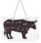 Primitive Butcher Shop Beef Cuts Chart T-shirt Weekender Tote Bag by Edward Fielding