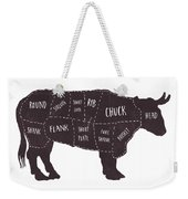 Primitive Butcher Shop Beef Cuts Chart T-shirt Weekender Tote Bag by Edward Fielding