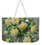 Princess Diana Roses In A Cut Glass Vase Weekender Tote Bag