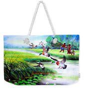 Artistic Painting Photo Flying Bird Handmade Painted Village Art Photo Weekender Tote Bag