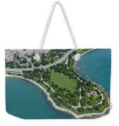 Promontory Point In Burnham Park In Chicago Aerial Photo Weekender Tote Bag