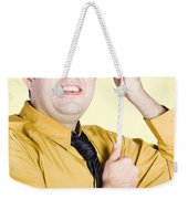 Promoted Employee Climbing Up Corporate Rope Weekender Tote Bag