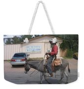Prospector Re-enactor With Burro Passing Rose Bush Museum Sign Tombstone  Arizona 2004 Weekender Tote Bag