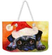 Pug Santa Portrait Weekender Tote Bag
