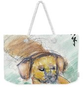 Puggle With Red Ball Weekender Tote Bag