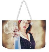 Pump Action Pin Up Woman Killing Glass Grime Weekender Tote Bag