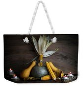 Pumpkin, Corncob, Autumn Leaves And Burning Candles Decoration O Weekender Tote Bag