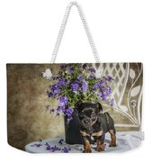 Puppy Dog With Flowers Weekender Tote Bag