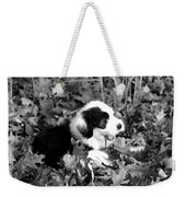 Puppy In The Leaves Weekender Tote Bag