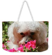 Puppy With Roses Weekender Tote Bag