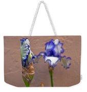 Purple And White Bearded Iris Bud Weekender Tote Bag