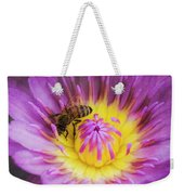 Purple And Yellow Lotus With A Bee Textured Weekender Tote Bag