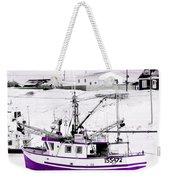 Purple Fishing Boat Weekender Tote Bag