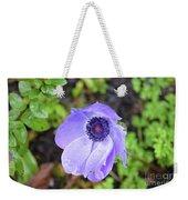 Purple Flowering Anemone Flower In A Lush Green Garden Weekender Tote Bag