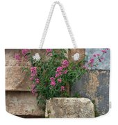 Purple Flowers In Ruins Weekender Tote Bag