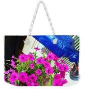 Purple Flowers On White Window 2 Weekender Tote Bag