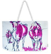 Purple Friesian Holstein Cows Drawing Weekender Tote Bag