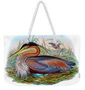 Purple Heron Antique Bird Print John Gould The Birds Of Great Britain Weekender Tote Bag