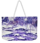 Purple Ice On Kaaterskill Creek Weekender Tote Bag