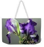 Purple Iris Water Drops Weekender Tote Bag