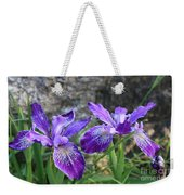 Purple Irises With Gray Rock Weekender Tote Bag