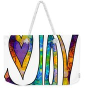 Purple Joy Abstract Inspirational Words Artwork By Omaste Witkow Weekender Tote Bag