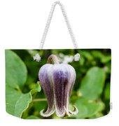 Purple Leather Flower Weekender Tote Bag