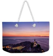 Purple Light On The Adriatic Sea After Sundown With Lights On Pi Weekender Tote Bag