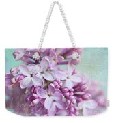 Purple Lilacs With Text Weekender Tote Bag