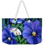 Purple Pansies And White Moth Weekender Tote Bag