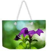 Purple Petunia On A Cool Spring Day Weekender Tote Bag